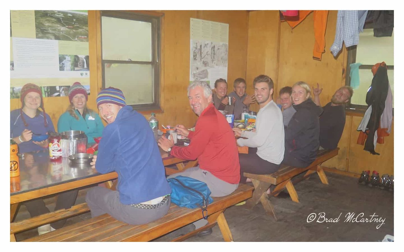 Warming up in the hut after and wet, cold and windy day