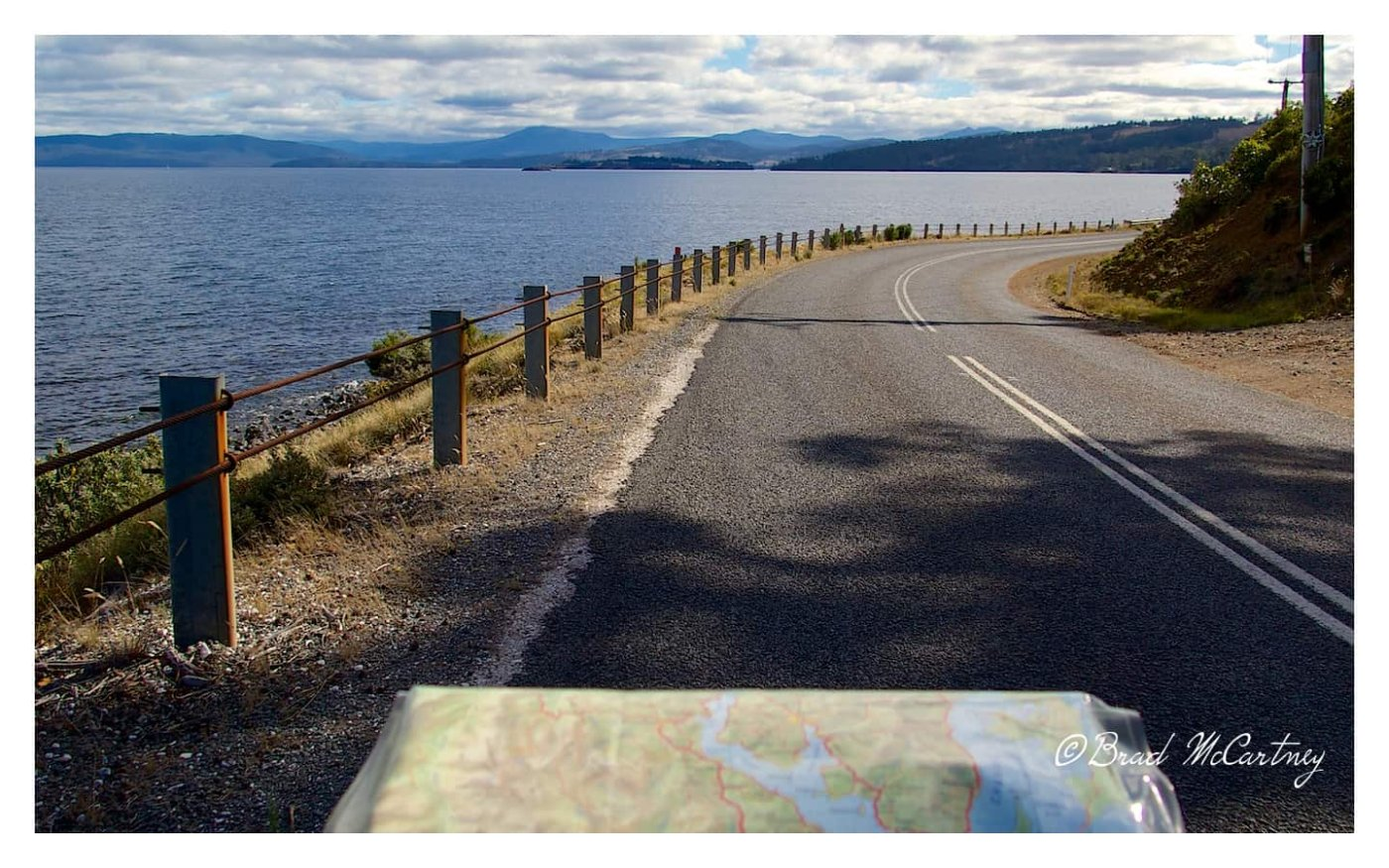 The road heading south with great views of D'Entrecasteaux Channel