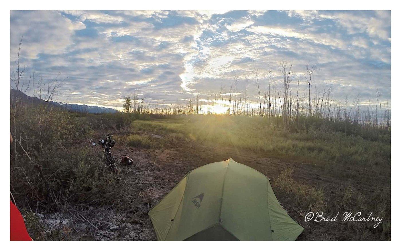 Campsite in the swamp between Fairbanks to Tok