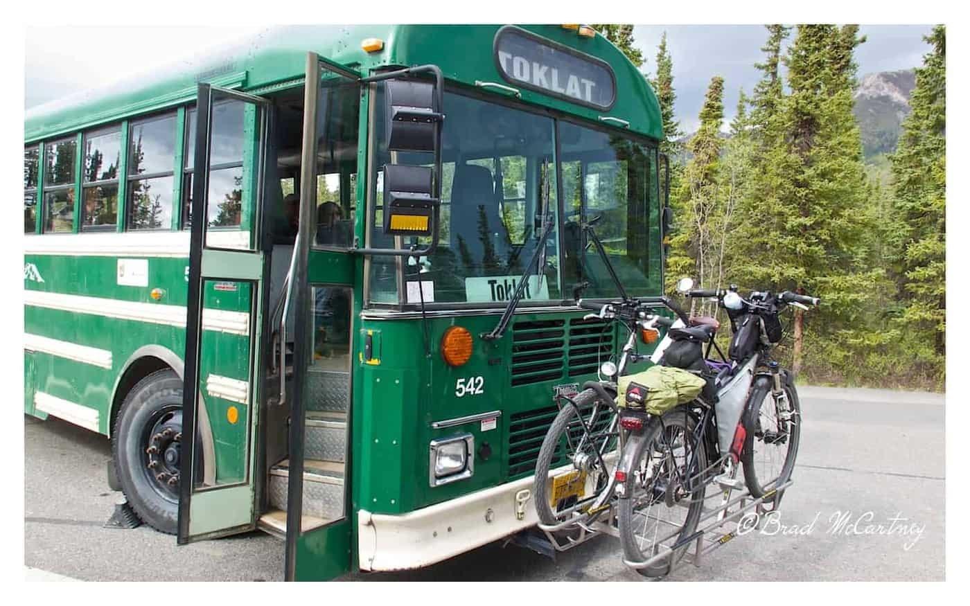 Bus transporting bicycles in Denali National Park