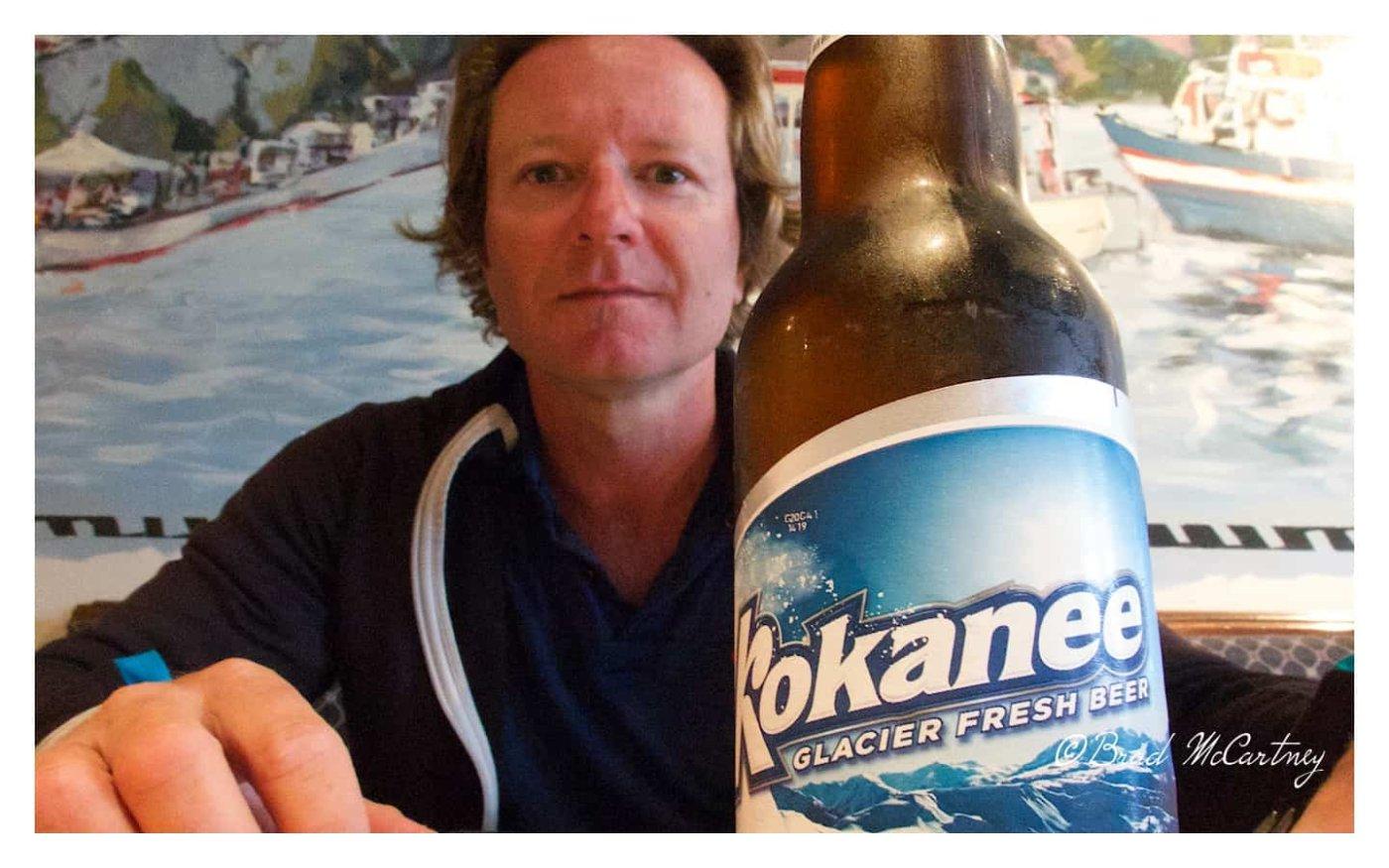 Enjoying a well earned Canadian Beer in Dawson City