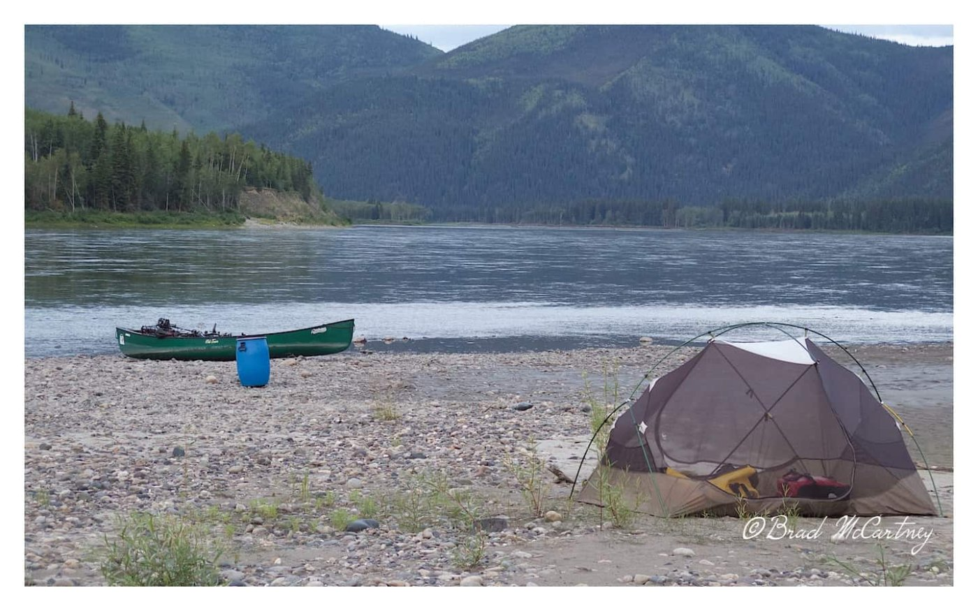 Campsite on an Island while canoeing the Yukon River