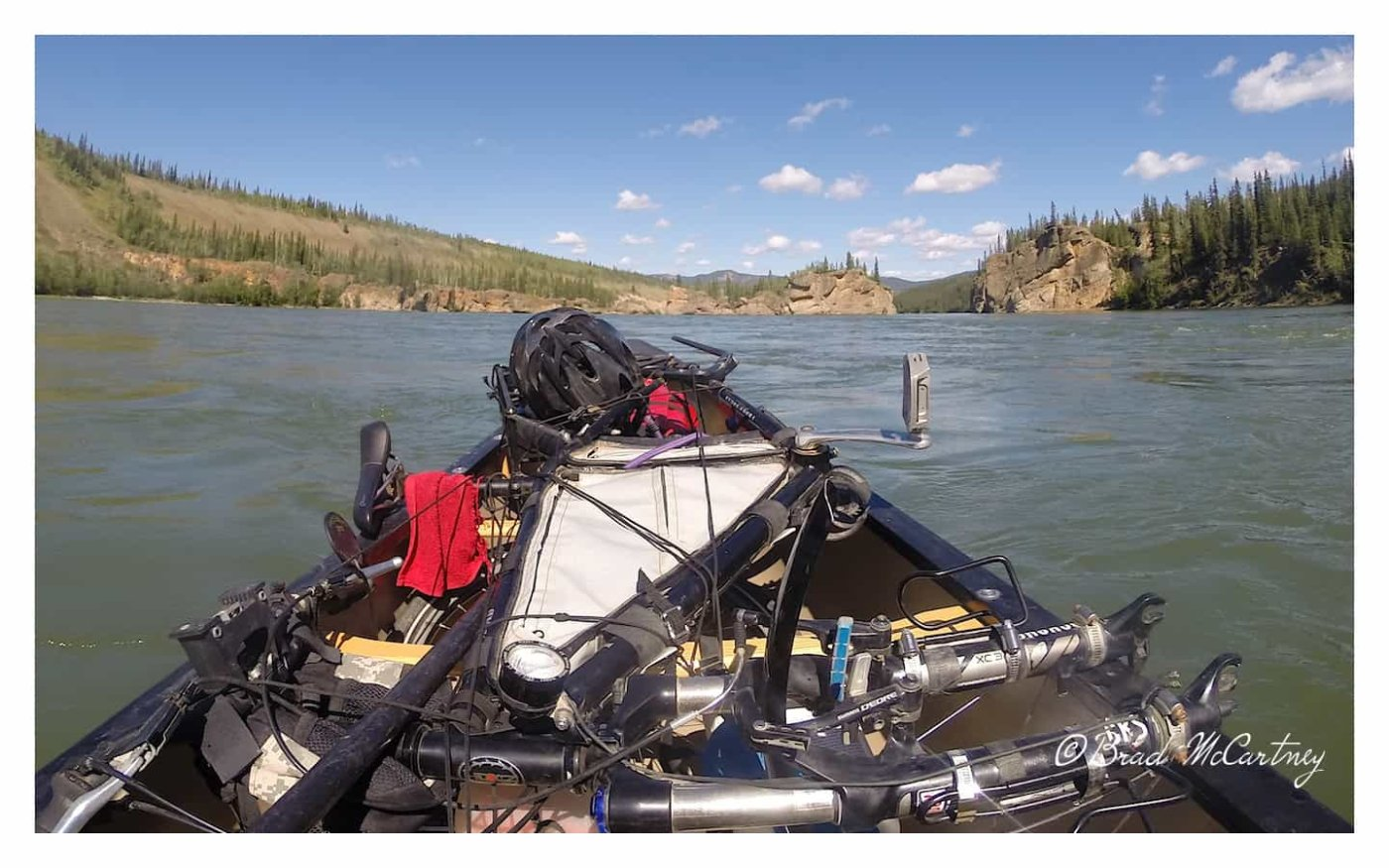 Canoeing with a bicycle yukon river