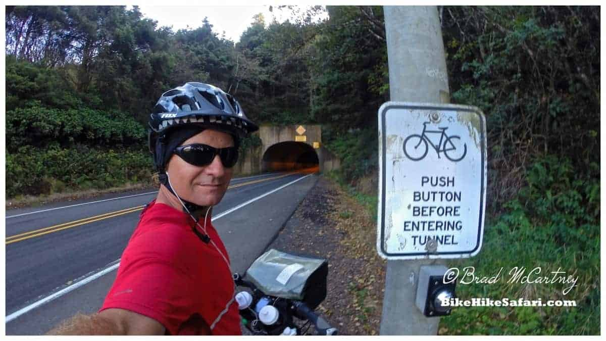 Cycling through tunnels, push the button to activate the flashing lights