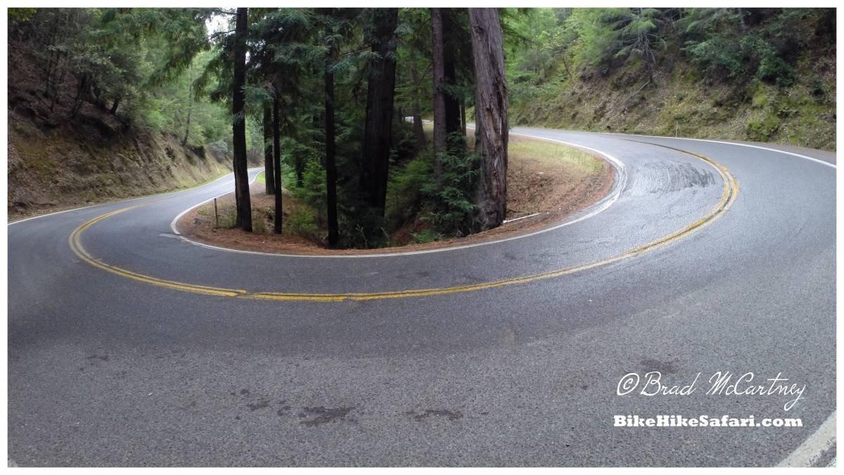 Bicycle touring steep roads near the california coast