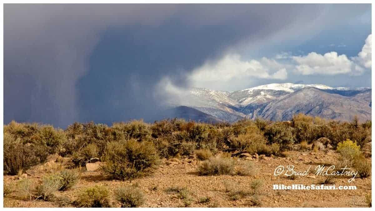 Dodging snow fall in the desert
