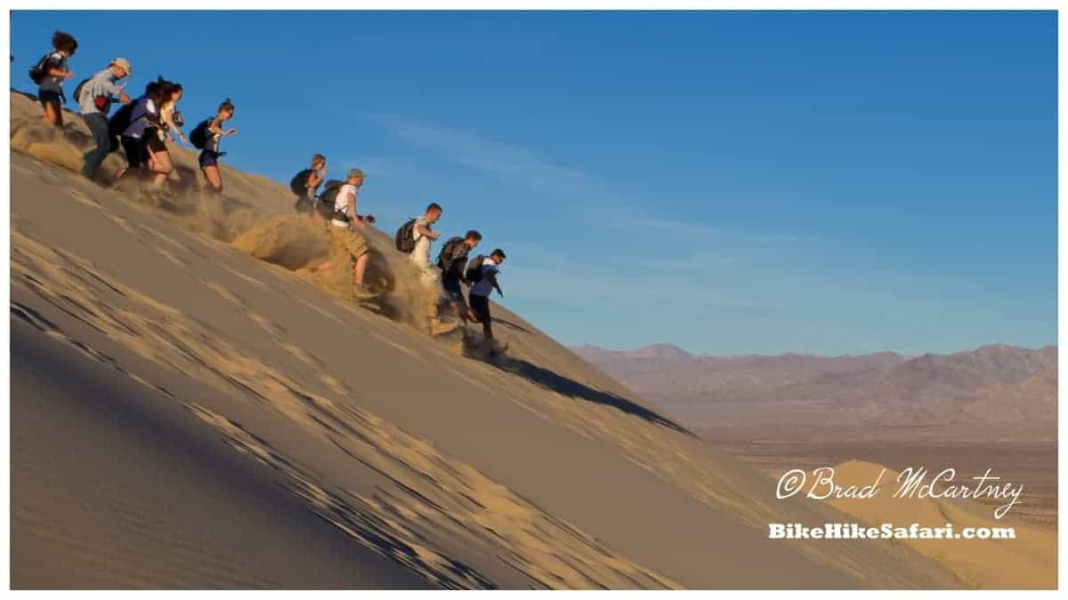 As I arrived at the top of the highest dune everybody took off at light speed, its only been a week without a shower
