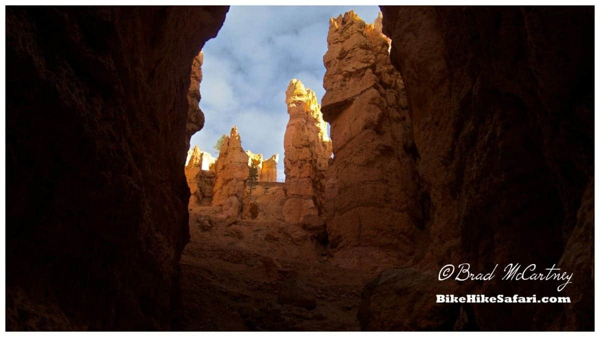 View from inside the hoodoos of the Navajo Trail at a place called Wall Street