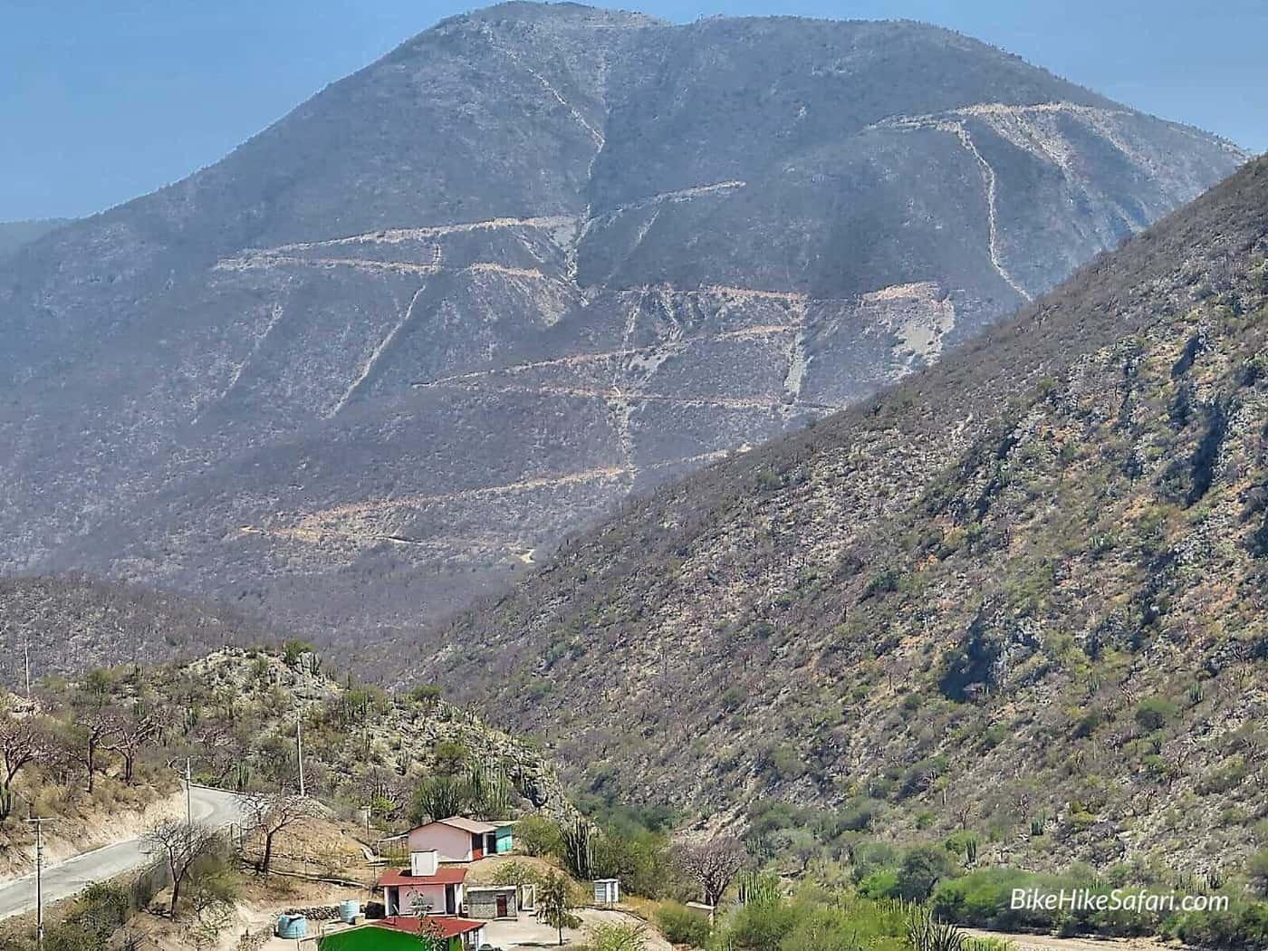 cycling switchbacks in Sierra Gorda Mexico