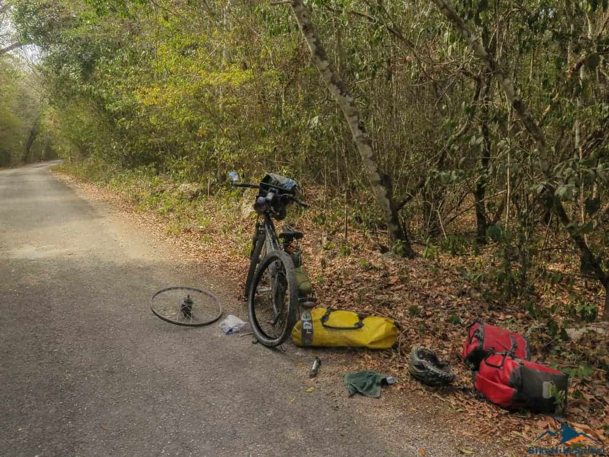 Flat tyre on the quiet backroads