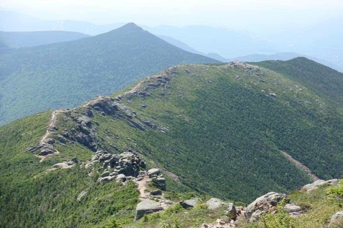 Classic Franconia Ridge hiking trail in New Hampshire, part of the Appalachian Trail