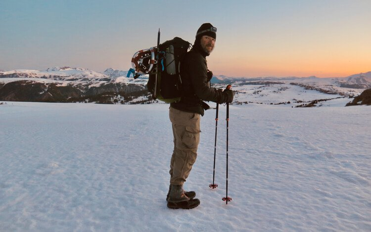 Backpacking on the snow with trekking poles while doing a Trekking pole review