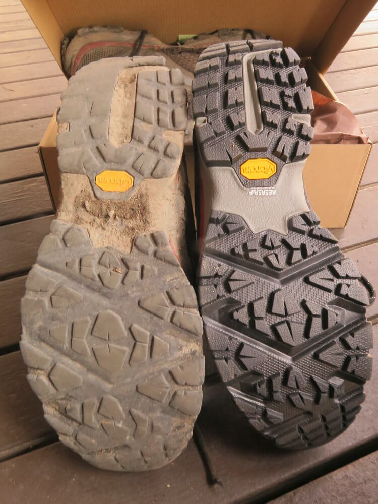 Best Traction for a hiking shoes with old worn out sole and brand new one